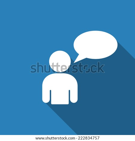 speak icon with long shadow - stock vector