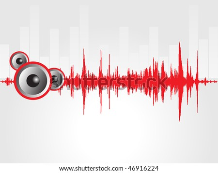 speaker and red graph isolated on gray, wallpaper - stock vector