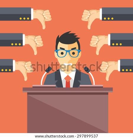 Speaker and thumbs down. Businessman at rostrum. Awful speech, bad speaker, nonproductive ideas flat illustration concept for web banners, web sites, printed materials. Creative vector illustration - stock vector