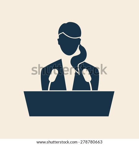 SPEAKER ICON, FEMALE SPEAKER, WOMAN SPEAKER ILLUSTRATION VECTOR - stock vector