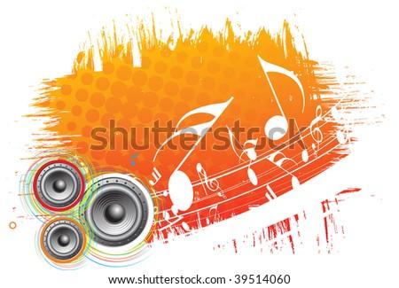 speaker on grunge retro wave lien background,vector illustration - stock vector