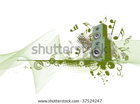 speaker on retro-rainbow grunge wave lien background,vector,illustration - stock vector