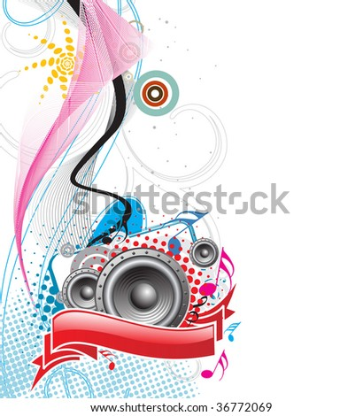 speaker on retro-rainbow wave lien background,vector,illustration - stock vector