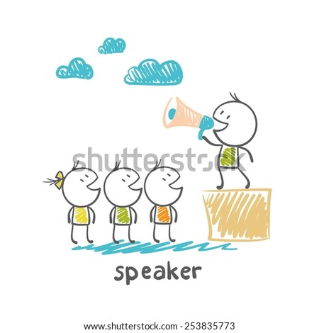 speaker  standing on a box and shouting in loudspeaker people illustrator - stock vector