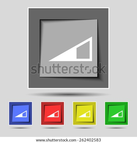 speaker Volume icon sign on the original five colored buttons. Vector illustration - stock vector