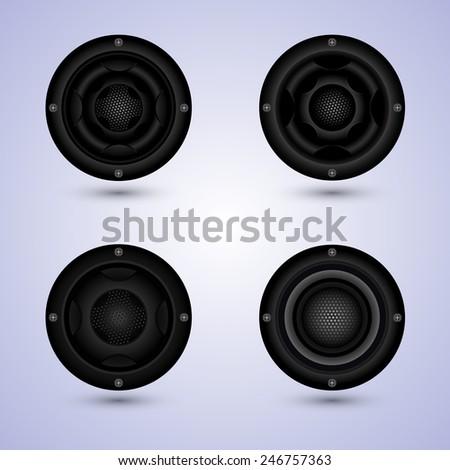 speakers set isolated on background, speaker sets vector - stock vector