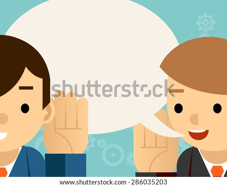 Speaking and listening. One man holds hand at his ear and the other says. Bubble information, hearing and whisper, vector illustration - stock vector