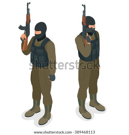 Spec ops police officers SWAT in black uniform. Soldier, officer, sniper, special operation unit, SWAT flat 3d isometric illustration.  Military man vector - stock vector