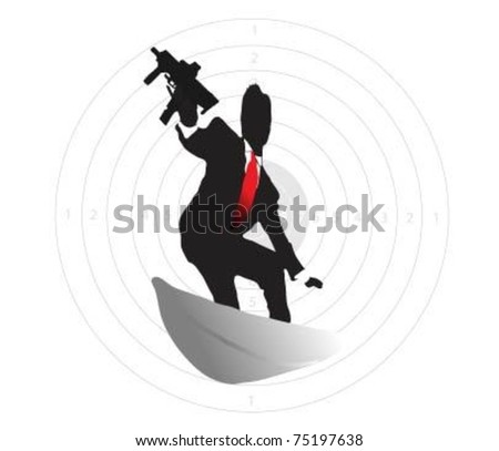 Special agent on board to surf the gun. - stock vector