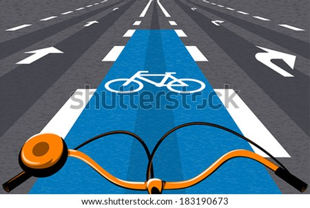 Special bicycle ride at the center of the urban road - stock vector