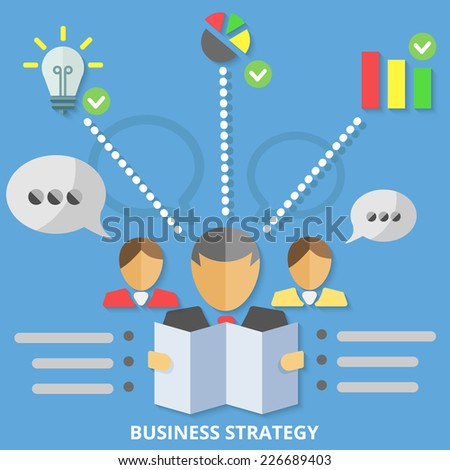 Special Business strategy concept with special Businessman icons. Flat Design. - stock vector