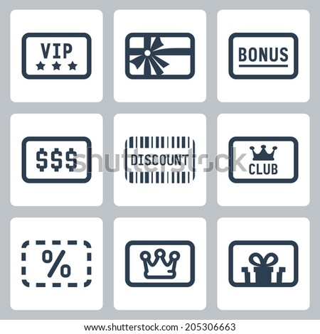 Special cards icons set: VIP, gift, bonus, discount, club card - stock vector