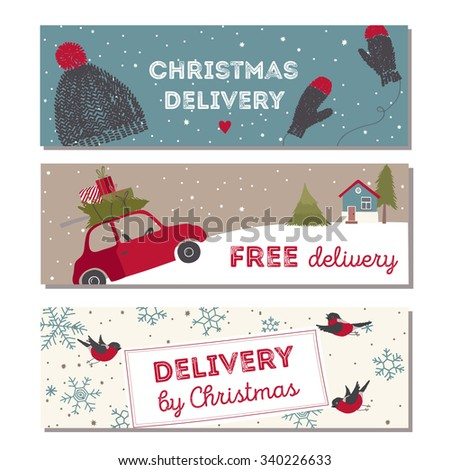 Special christmas delivery vector Illustration. Small red car with gifts and christmas tree on the top. - stock vector