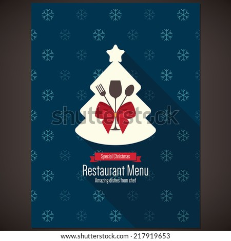 Special Christmas festive menu design - stock vector