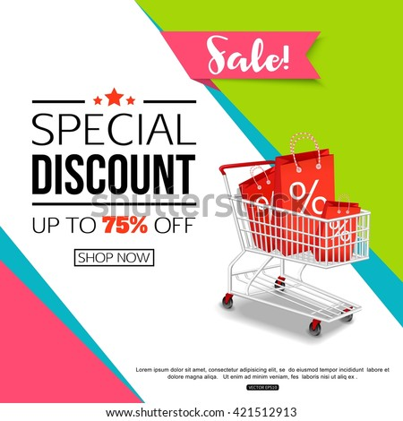 Special Discount template for sale banner, poster, flyer, shop, online store. Vector eps 10 format.  - stock vector