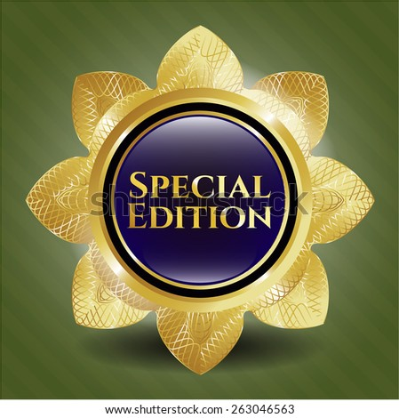 Special edition golden flower. Shiny badge - stock vector