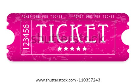 special grunge movie ticket for your website - stock vector