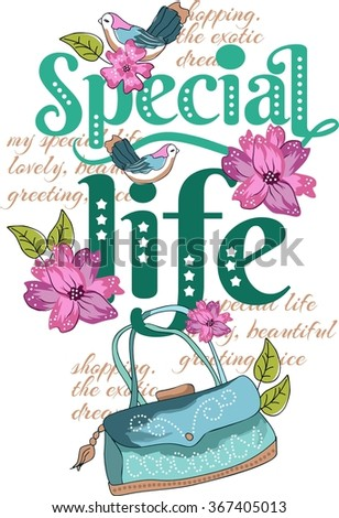 Special life ,Quotes vector. Free vintage style, Birds and florals girl design - stock vector