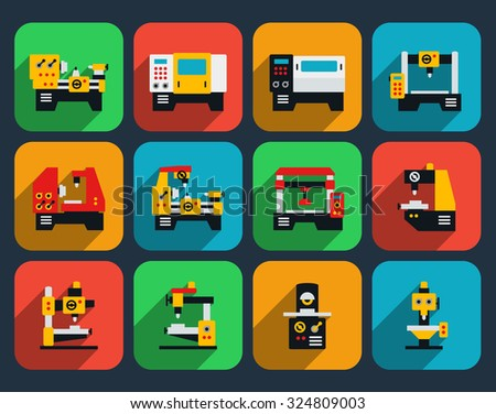 Special machine tools flat icon set. Technology industry, work industrial factory production, vector illustration - stock vector