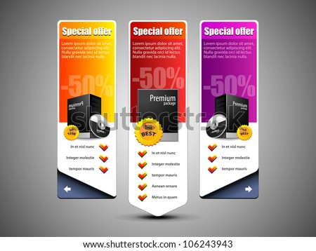 Special Offer Banner Set Vector Colored: Yellow, Purple, Violet, Red. Showing Products Purchase Button - stock vector