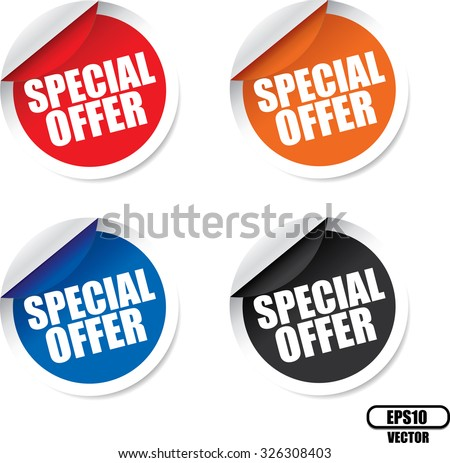 Special offer colorful modern labels and stickers. A specially reduced price or other financial inducement, usually available for only a limited period of time. Vector - stock vector