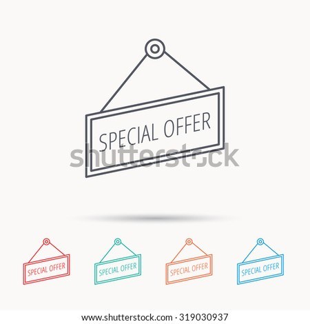 Special offer icon. Advertising banner tag sign. Linear icons on white background. Vector - stock vector