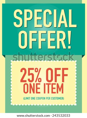 Special offer 25% off coupon page layout  - stock vector