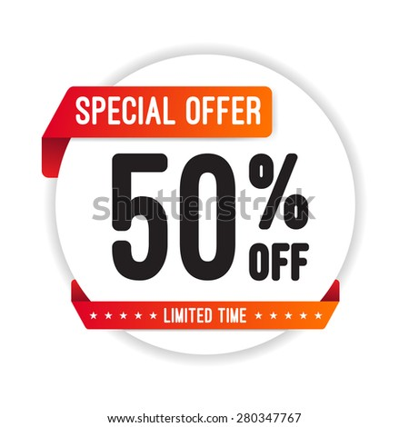 Special Offer 50% Off Round Sticker - stock vector