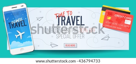 Special offer on business Travel. Business trip banner. Smartphone and credit cards. Air travel concept. Business travel illustration. 30% off. - stock vector