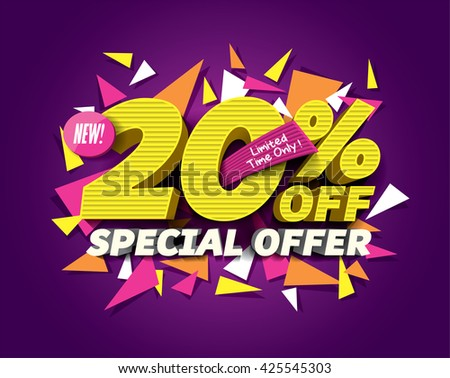Special Offer Sale concept with abstract triangle elements. sale layout design. Vector illustration. - stock vector