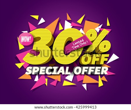 Special Offer Sale concept with abstract triangle elements. sale layout design. Vector illustration - stock vector
