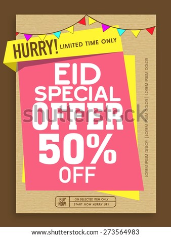 Special Offer Sale poster, banner or flyer decorated with colorful buntings on occasion of Islamic Festival, Eid celebration. - stock vector