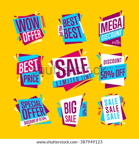 Special offer sale tag discount symbol retail sticker sign price set isolated on yellow background modern graphic style vector illustration - stock vector