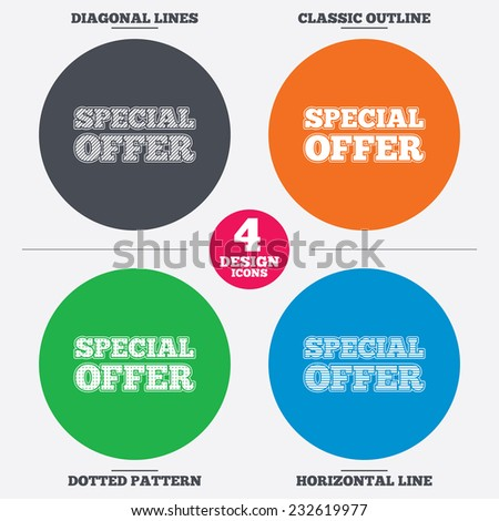 Special offer sign icon. Sale symbol. Diagonal and horizontal lines, classic outline, dotted texture. Pattern design icons. Vector - stock vector