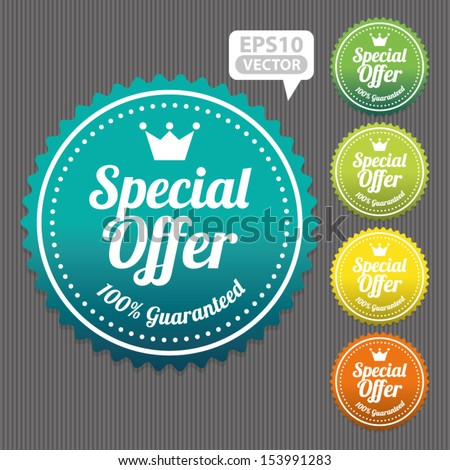 Special Offer Sticker and Tag Vintage and Gradient - Vector - stock vector