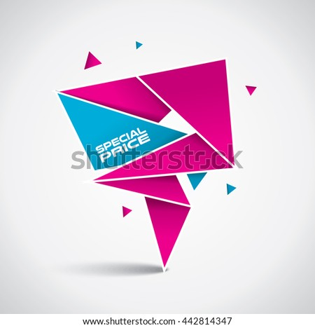 Special price bubble - origami style with vibrant pink and blue colors  - stock vector