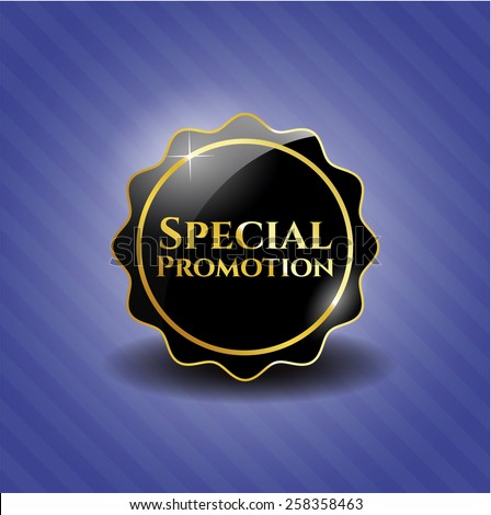 Special promotion black emblem with background - stock vector