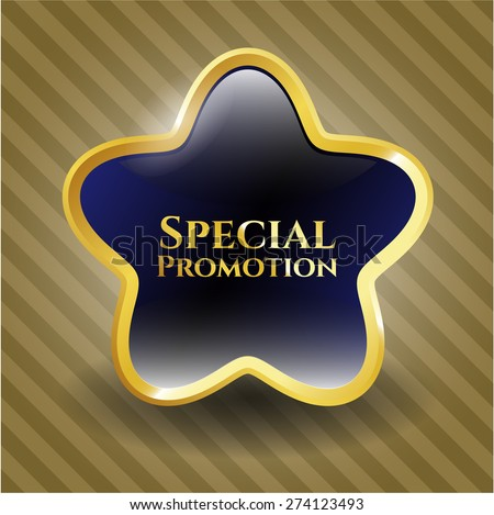 Special promotion blue gold border star. - stock vector