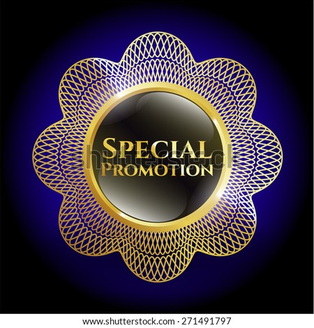 Special promotion gold shiny badge with blue background - stock vector