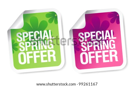 Special spring offer stickers set. - stock vector