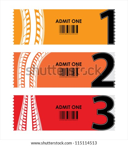 special tickets with numbers and tire design - stock vector