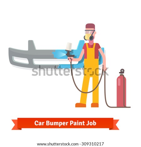 Specialist spray painting auto bumper part at the car collision repair shop. Flat style vector illustration isolated on white background. - stock vector
