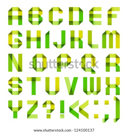 Spectral letters folded of paper ribbon-green and yellow. Roman alphabet (A, B, C, D, E, F, G, H, I, J, K, L, M, N, O, P, Q, R, S, T, U, V, W, X, Y, Z). - stock vector