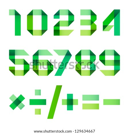 Spectral numbers folded of paper green ribbon - Arabic numerals (0, 1, 2, 3, 4, 5, 6, 7, 8, 9). - stock vector