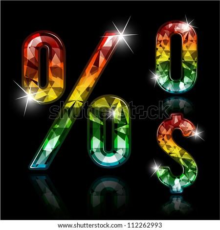 Spectrum diamond design elements - zero, percent sign and dollar sign - stock vector