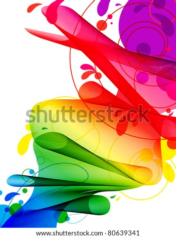 Spectrum Ribbon River - Abstract flowing ribbon in spectrum gradient with circles and swirls isolated on white - stock vector