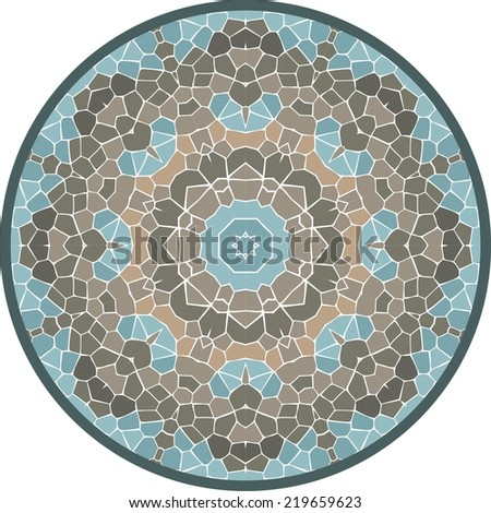Spectrum seamless geometric mandala made of rhombuses, pixel art, stock vector. Modern stylish texture.  - stock vector