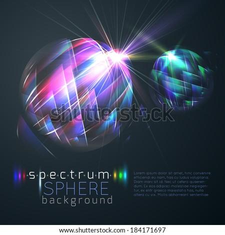 Spectrum spheres background - stock vector