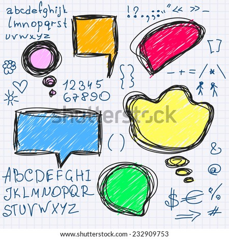 Speech and thought bubbles, Vector set with alphabet - stock vector