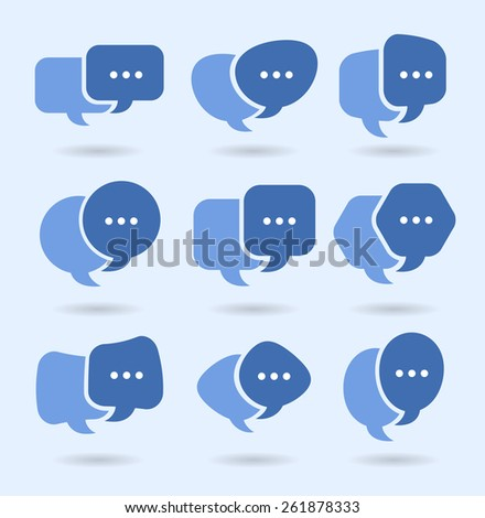 Speech balloons, social media conversation and networking TYPING - stock vector